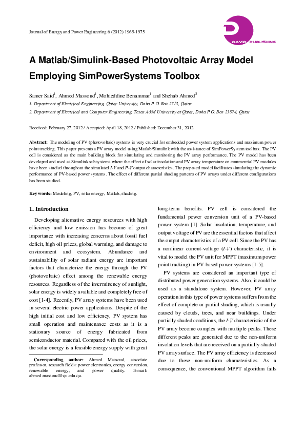 PDF) A Matlab/Simulink-Based Photovoltaic Array Model
