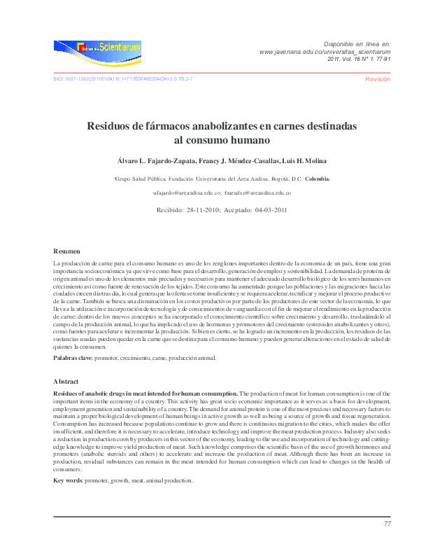 (PDF) Residuos de fármacos anabolizantes en carnes