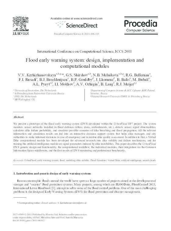 Pdf Flood Early Warning System Design Implementation And Computational Modules Robert Belleman Academia Edu