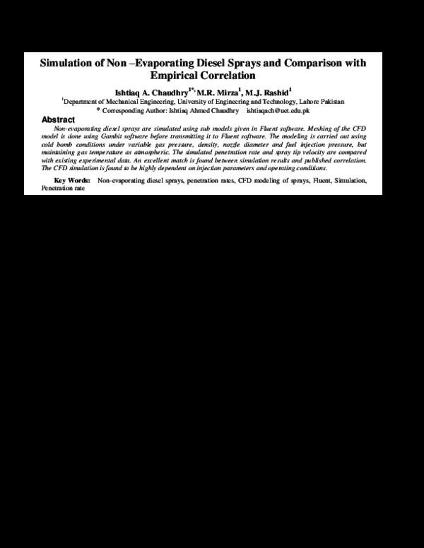 PDF) Simulation of Non-Evaporating Diesel Sprays and