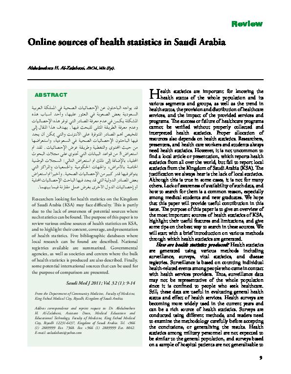 PDF) Online sources of health statistics in Saudi Arabia