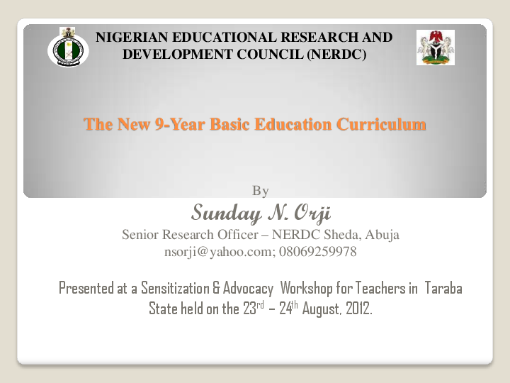 PDF) The New Basic Education Curriculum in Nigeria [Power