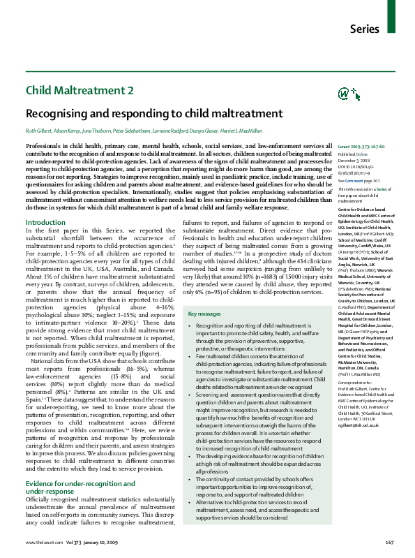 PDF) 'Recognising and responding to child maltreatment