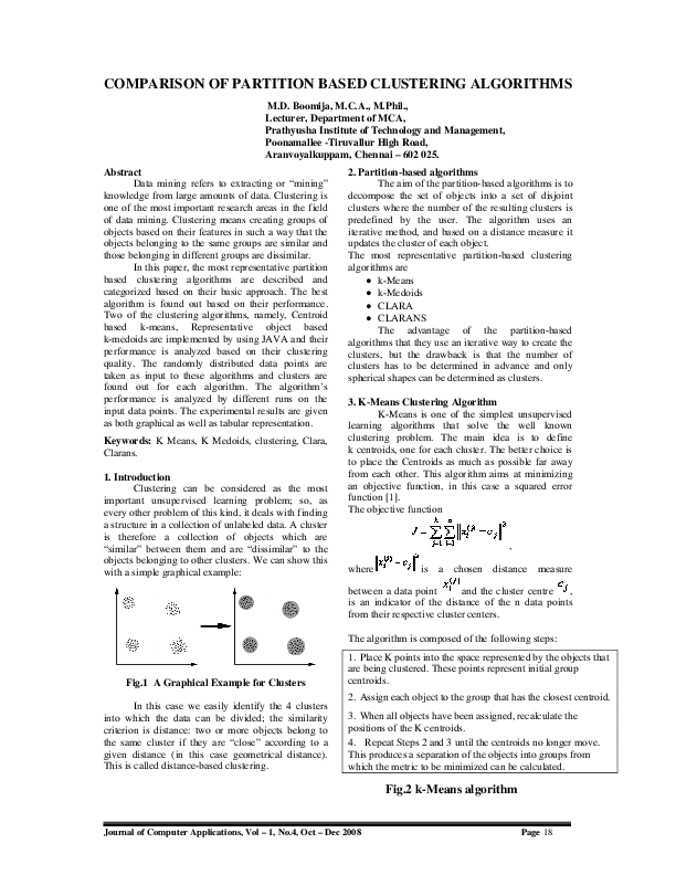 PDF) Comparison of Partition Based Clustering Algorithms