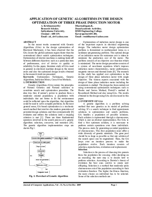 Pdf Application Of Genetic Algorithms In The Design Optimization Of Three Phase Induction Motor Jca Ksrce Academia Edu