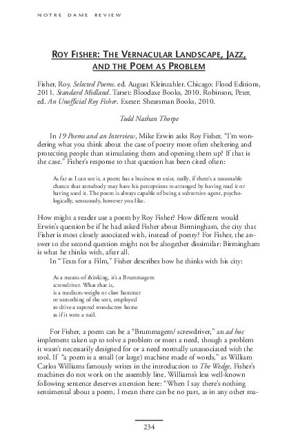 Pdf Roy Fisher The Vernacular Landscape Jazz And The Poem As Problem Todd Thorpe Academia Edu