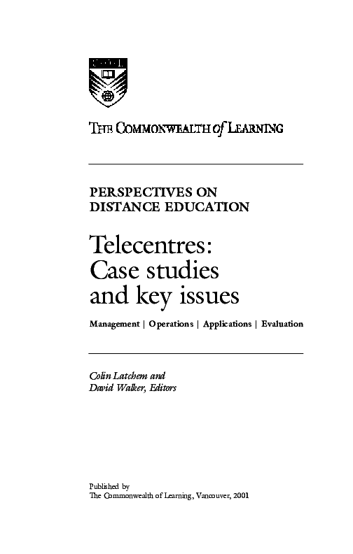 PDF) Telelearning and telelearning centres in India