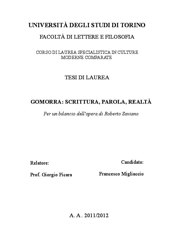 148b570e4023f4 PDF) Gomorra: scrittura, parola, realtà. Per un bilancio dell'opera ...