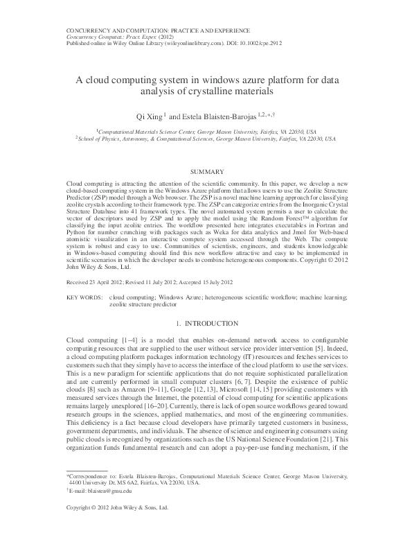 PDF) A cloud computing system in windows azure platform for