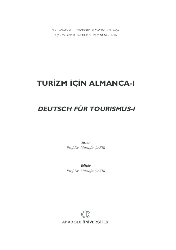 PDF Turizm Icin Almanca I Deutsch Fur Tourismus