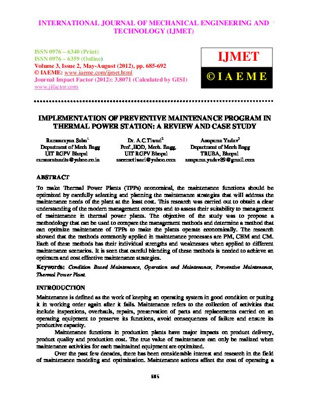 PDF) IMPLEMENTATION OF PREVENTIVE MAINTENANCE PROGRAM IN