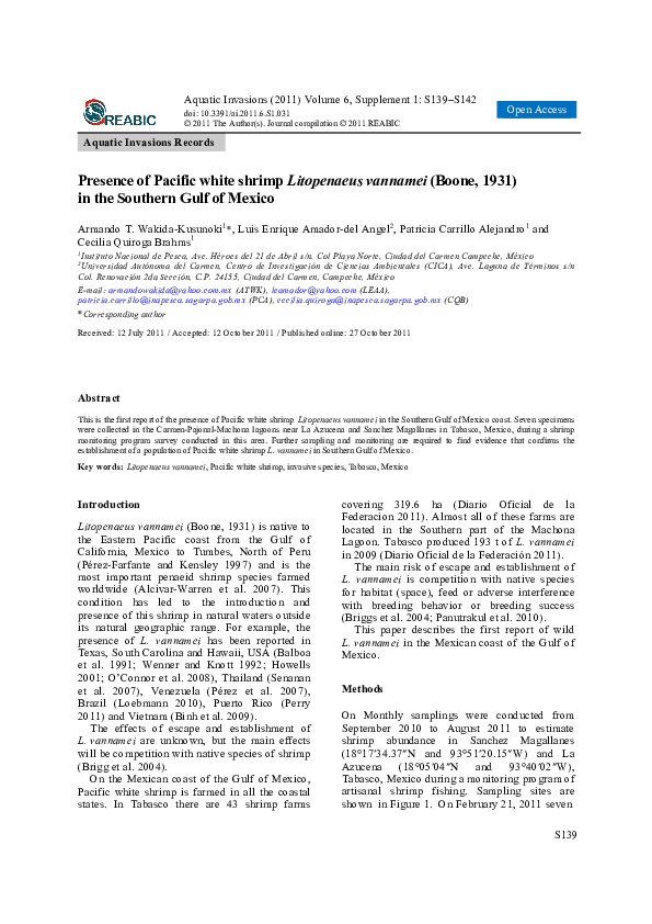 PDF) Presence of Pacific white shrimp Litopenaeus vannamei (Boone