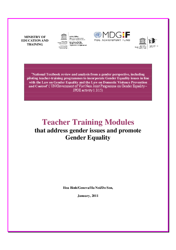 PDF) Teacher Training Modules that address gender issues and