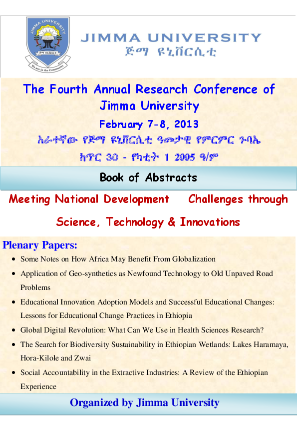 PDF) The Fourth Annual Research Conference of Jimma