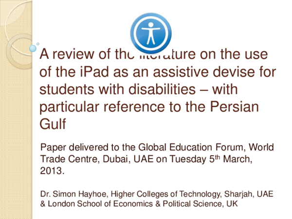 PPT) A review of the literature on the use of the iPad as an