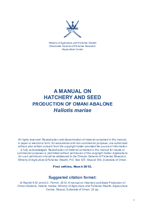 PDF) A manual on Hatchery and Seed Production of Omani