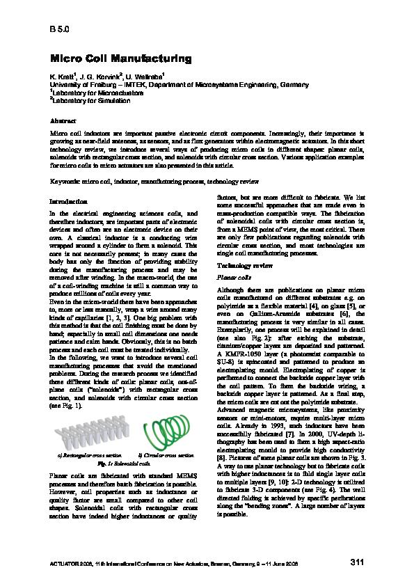 PDF) Micro Coil Manufacturing | Jan G Korvink - Academia edu