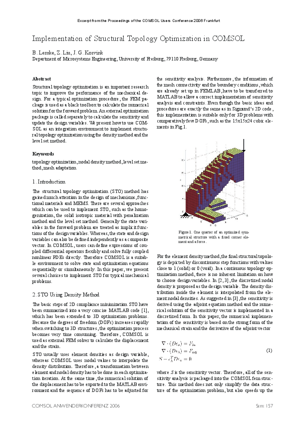 PDF) Implementation of structural topology optimization in