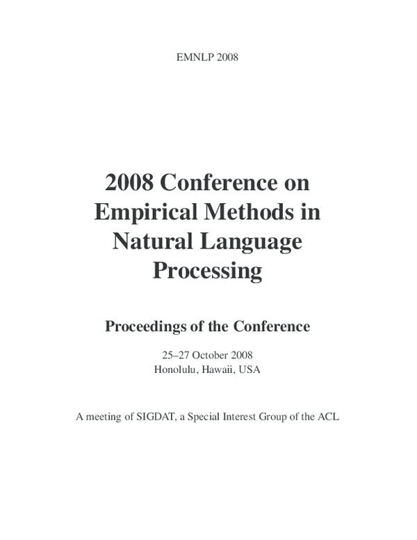 PDF) Proceedings of the 2008 Conference on Empirical Methods
