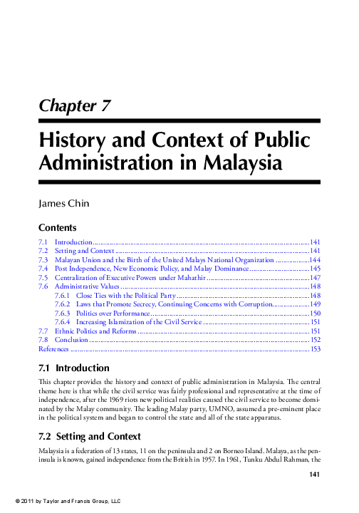 Pdf James Chin 2011 History And Context Of Public Administration In Malaysia In Evan M Berman Ed Public Administration In Southeast Asia Thailand Philippines Malaysia Hing Kong And Macau London Routledge Isbn