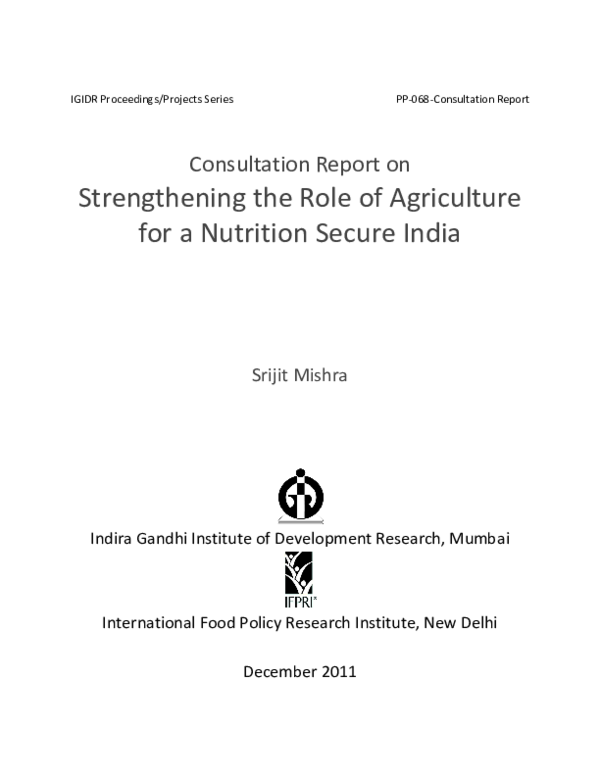 PDF) Strengthening the Role of Agriculture for a Nutrition