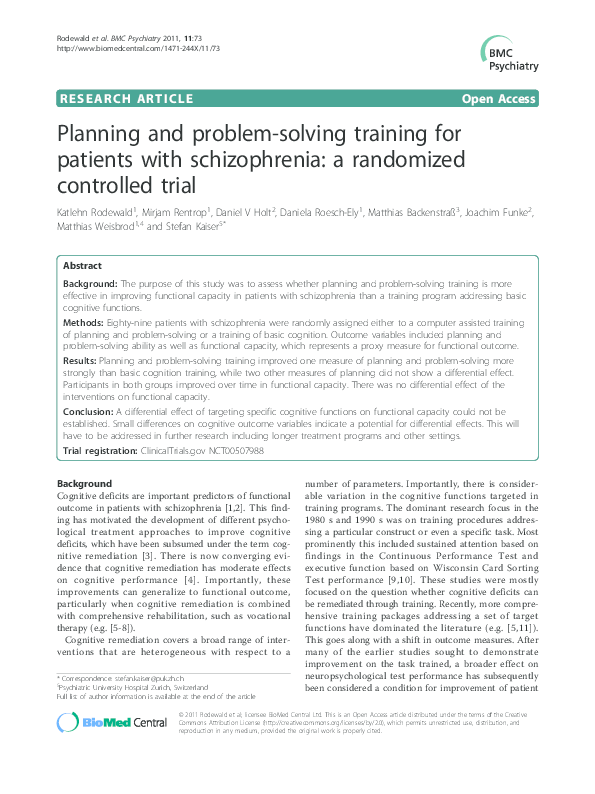 Halting Schizophrenia Before It Starts >> Pdf Planning And Problem Solving Training For Patients With