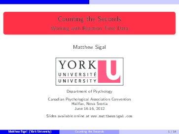PDF) Counting the seconds Working with reaction time data