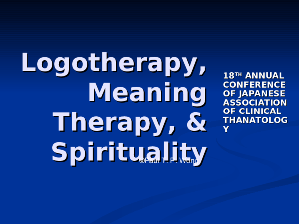 DOC) Logotherapy meaning therapy and spirituality   Paul T P