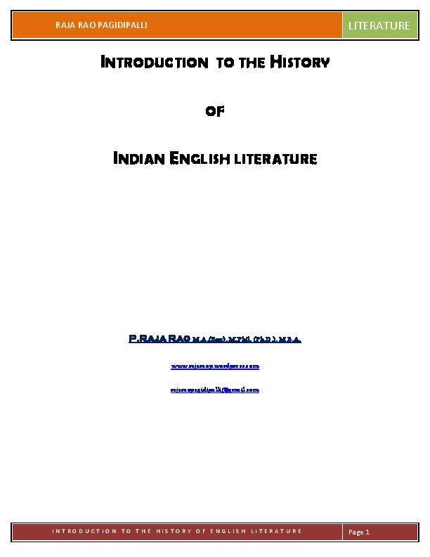 Of literature pdf indian english history