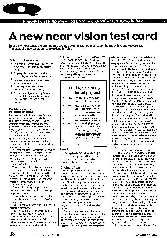 PDF) A new near vision test card | Arnold J Wilkins
