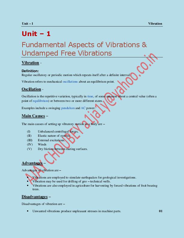 PDF) Vibration Notes/Lecture | AJAY KUMAR CHOUBEY - Academia edu