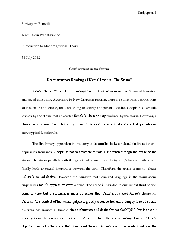 literary analysis essay on the storm by kate chopin
