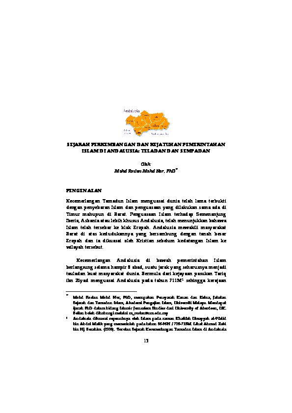 Pdf Sejarah Perkembangan Dan Kejatuhan Pemerintahan Islam Di Andalusia Teladan Dan Sempadan Mohd Roslan Mohd Nor Academia Edu