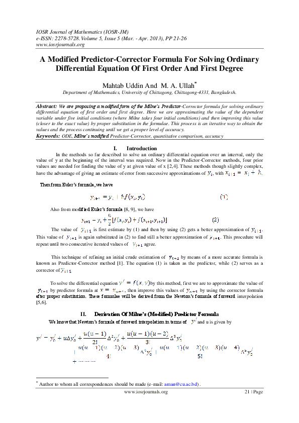 PDF) A Modified Predictor-Corrector Formula For Solving