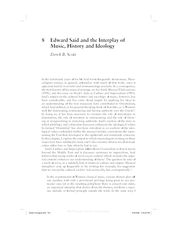 Edward Said And The Interplay Of Music History And Ideology  Derek  Pdf