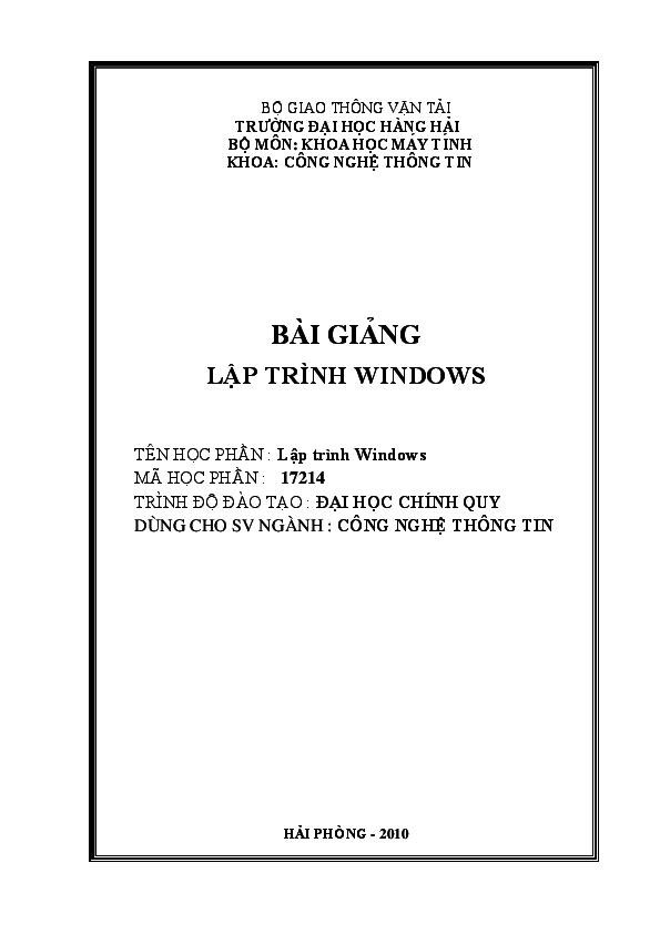 PDF) Bài giảng lập trình Windows | Thanhkieu Giang