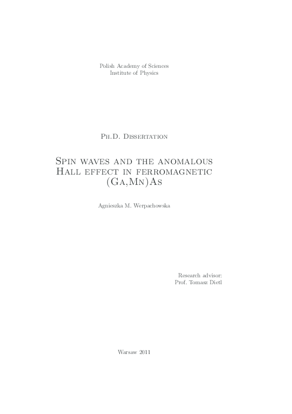 PDF) PhD thesis: Spin waves and the anomalous Hall effect in