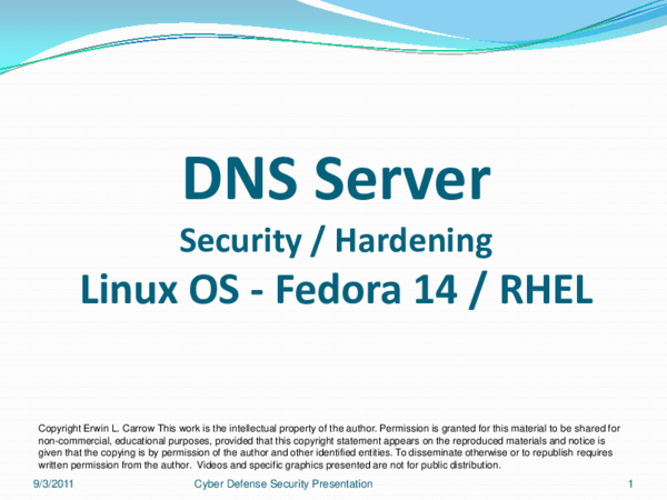 PDF) DNS Security and Hardening - Linux | Erwin Carrow