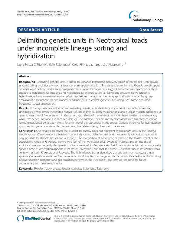 PDF) Delimiting genetic units in Neotropical toads under incomplete