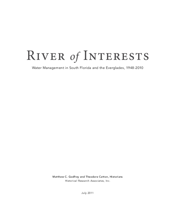Pdf River Of Interests A History Of Water Management In South Florida 1948 2000 Matthew Godfrey Academia Edu