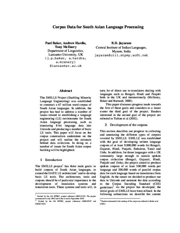 PDF) Corpus Data for South Asian Language Processing | Paul