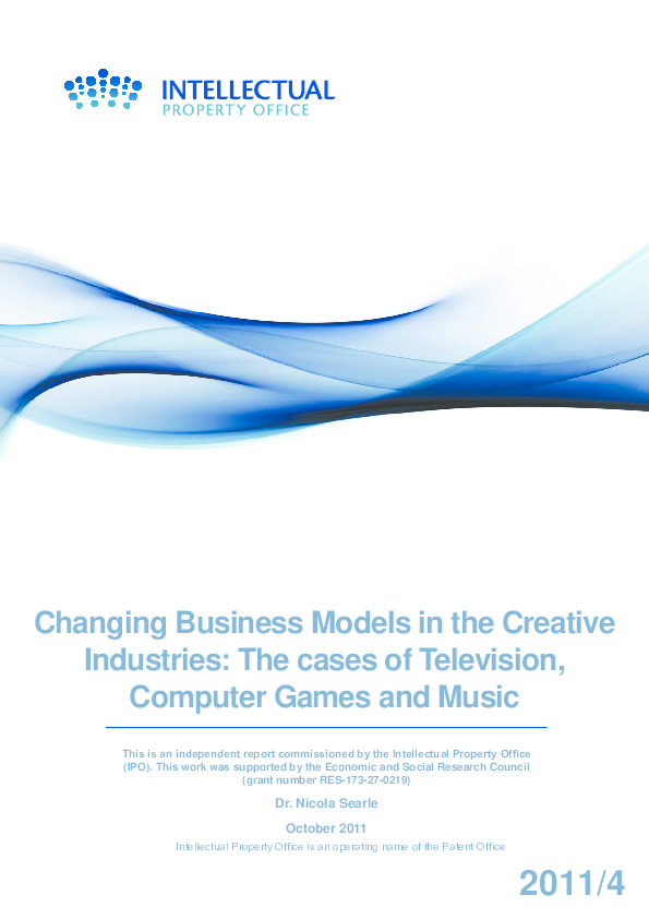 PDF) Changing Business Models in the Creative Industries