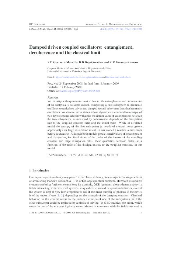 PDF) Damped driven coupled Oscillators: entanglement