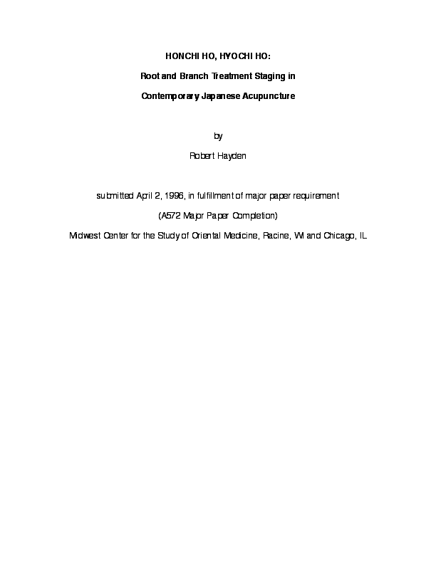 PDF) HONCHI HO, HYOCHI HO: Root and Branch Treatment Staging
