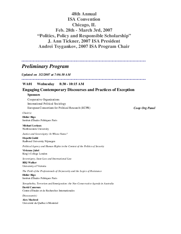PDF) Engaging Contemporary Discourses and Practices of Exception