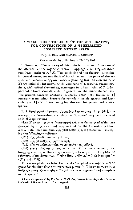 Pdf A Fixed Point Theorem Of The Alternative For Contractions On