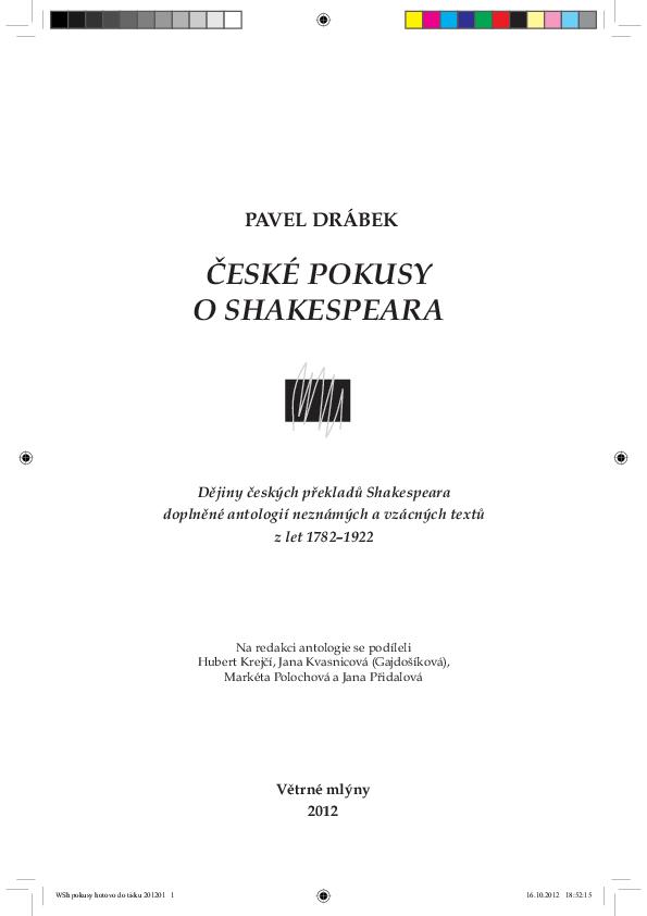České pokusy o Shakespeara (Czech Attempts at Shakespeare). Brno ... 8fdc6c1a55