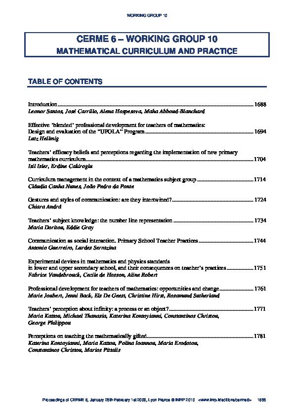 PDF) Professional development for teachers of mathematics
