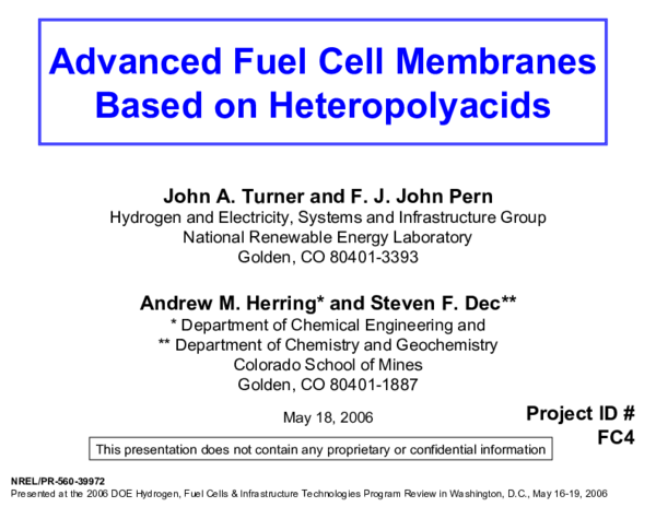 PDF) Advanced Fuel Cell Membranes Based on Heteropolyacids