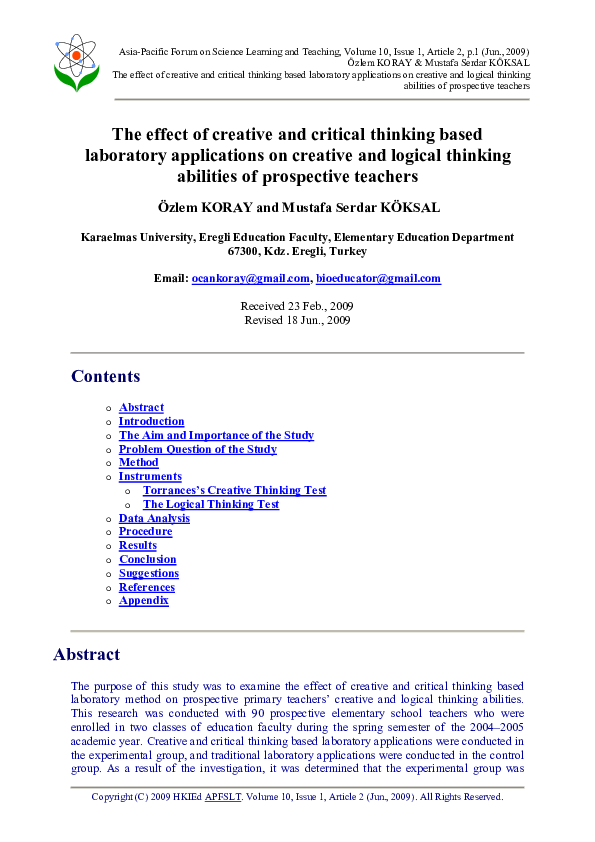 PDF) The effect of creative and critical thinking based